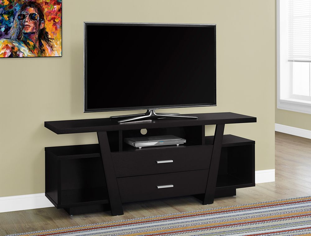 Monarch Specialties Tv Stand - 60-inch L / Cappuccino With 2 Storage Drawers