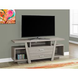 Monarch Specialties Tv Stand - 60 Inch L / Dark Taupe With 2 Storage Drawers