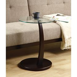 Monarch Specialties Accent Table - Cappuccino Bentwood With Tempered Glass