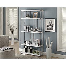 Monarch Specialties 4-Shelf Metal Bookcase in White