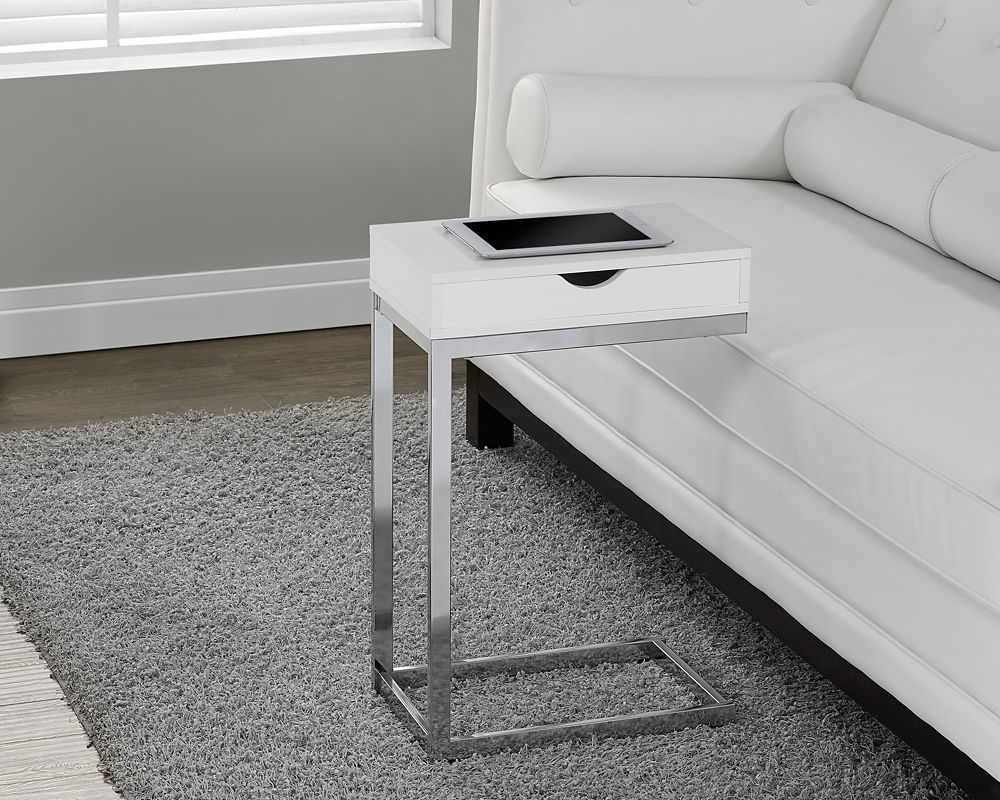Monarch Specialties Accent Table - Chrome Metal / Glossy White With A Drawer