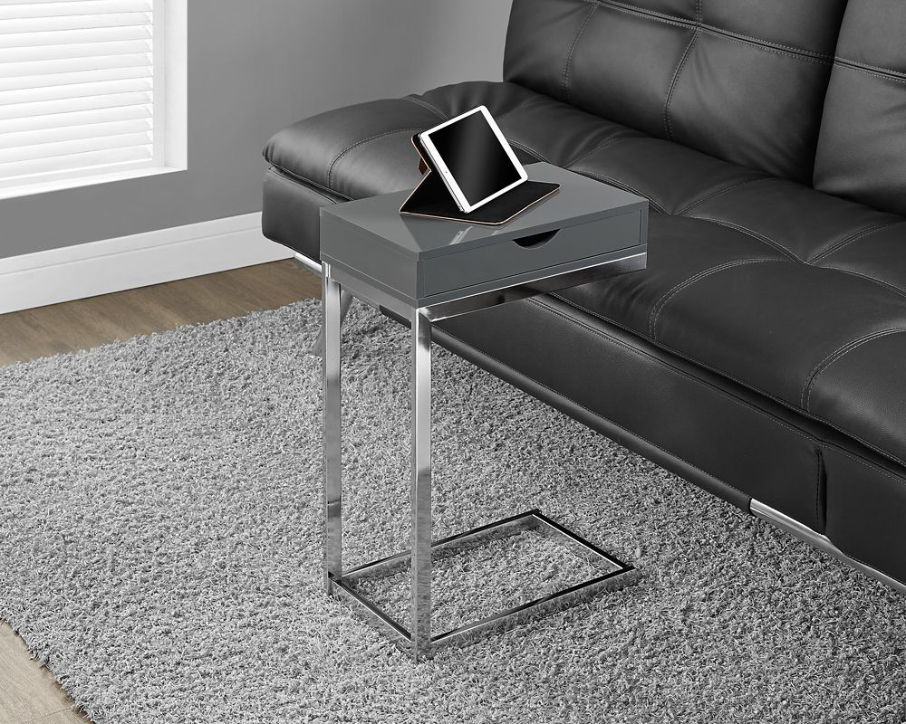 Monarch Specialties Accent Table - Chrome Metal / Glossy Grey With A Drawer