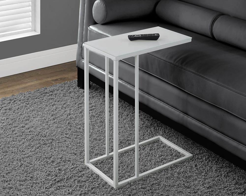 Monarch Specialties Accent Table - White Metal With Frosted Tempered Glass