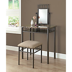 Monarch Specialties Vanity Set - 2-Piece Set / Cappuccino Marble / Bronze Metal