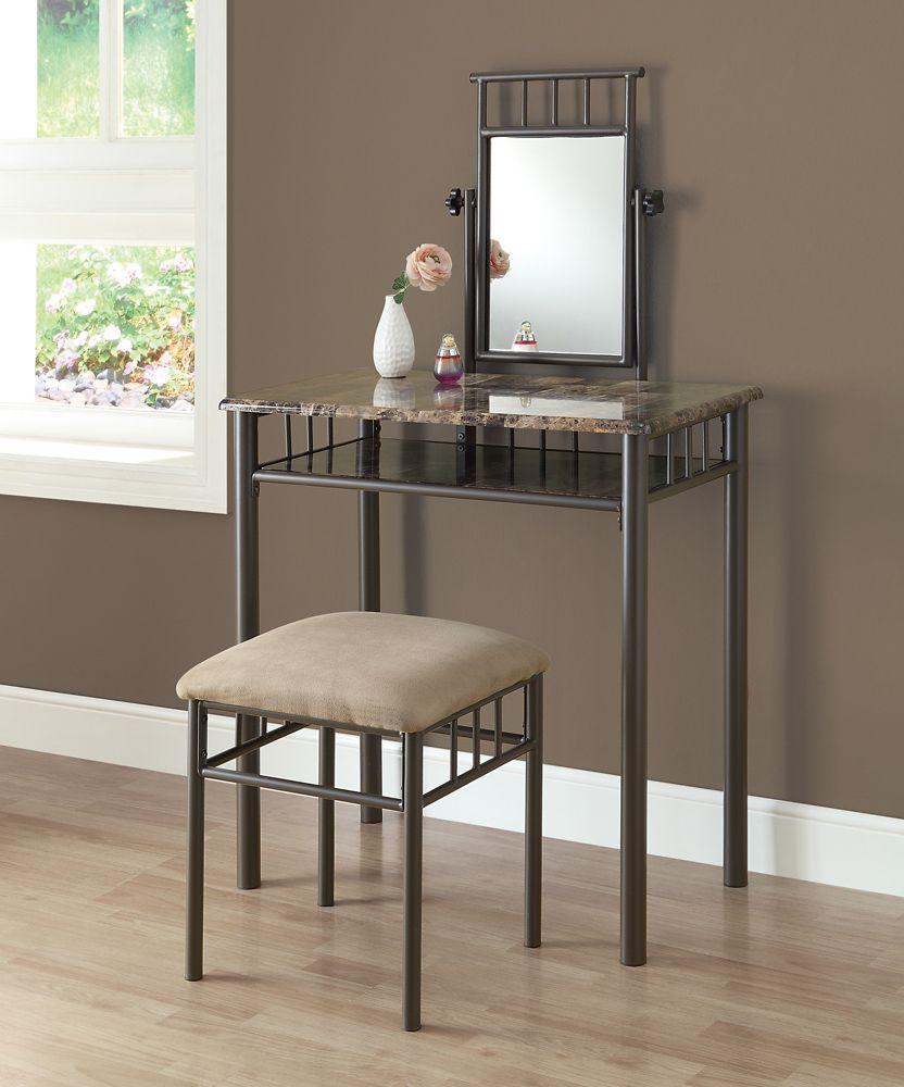 Monarch Specialties Vanity Set - 2pcs Set / Cappuccino Marble / Bronze Metal
