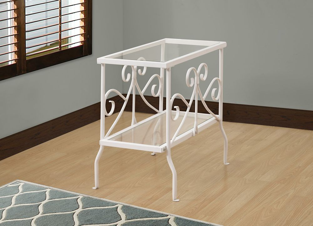 Monarch Specialties Accent Table - White Metal With Tempered Glass
