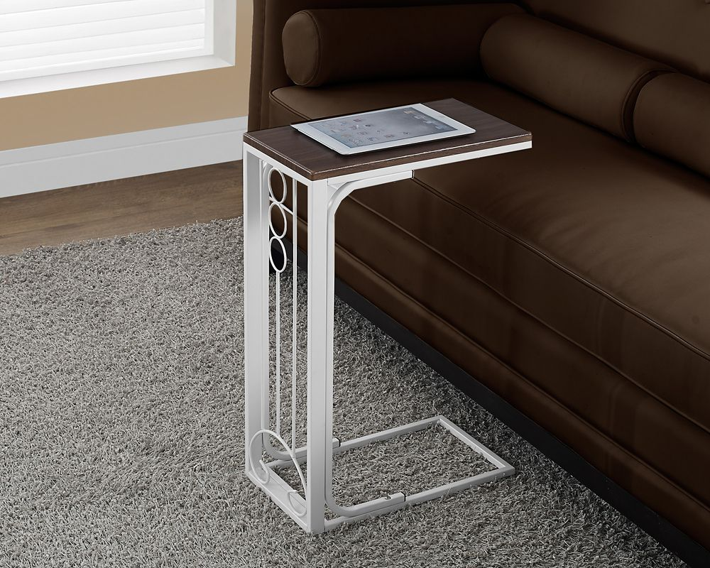 Monarch Specialties Accent Table - Cherry Top / Antique White Metal