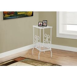 Monarch Specialties Accent Table - 30 Inch H / White Metal With Tempered Glass