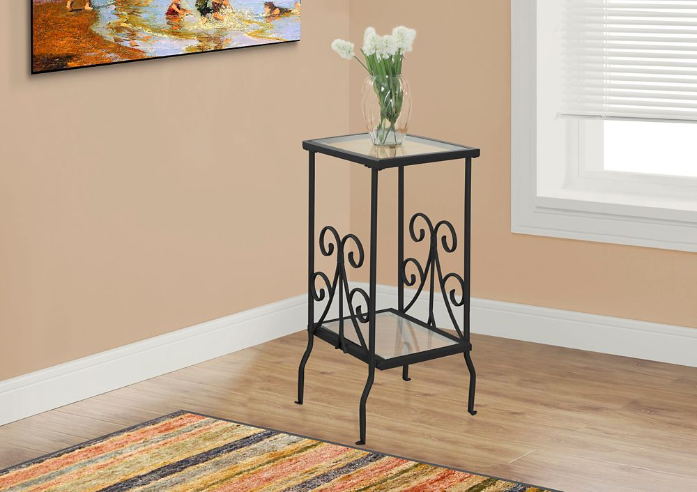 Monarch Specialties Accent Table - 30 Inch H / Black Metal With Tempered Glass