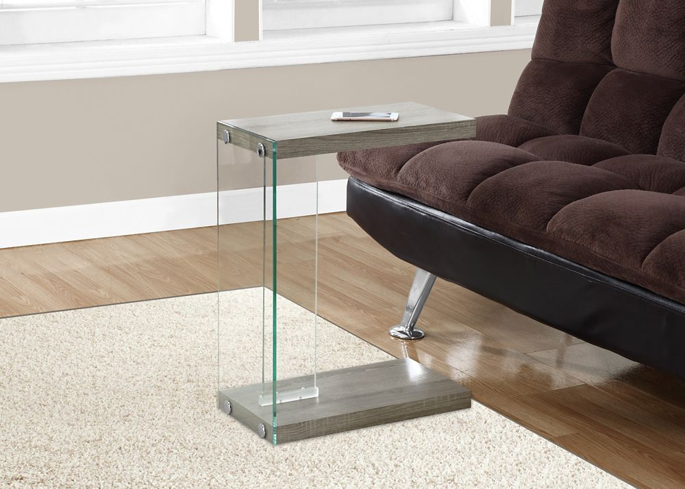 Monarch Specialties Accent Table - Dark Taupe With Tempered Glass