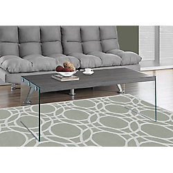 Monarch Specialties Coffee Table - Grey With Tempered Glass