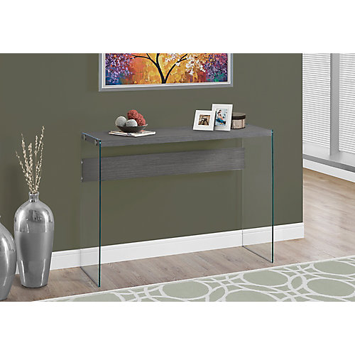 monarch specialties console table - grey with tempered glass | the
