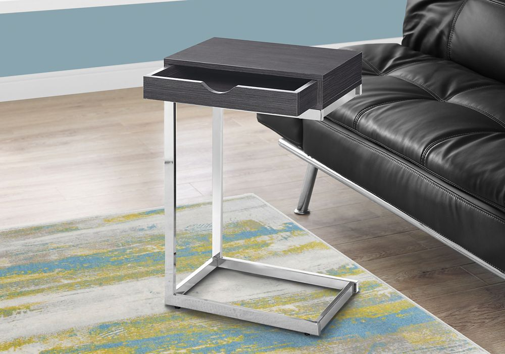 Monarch Specialties Accent Table - Chrome Metal / Grey With A Drawer