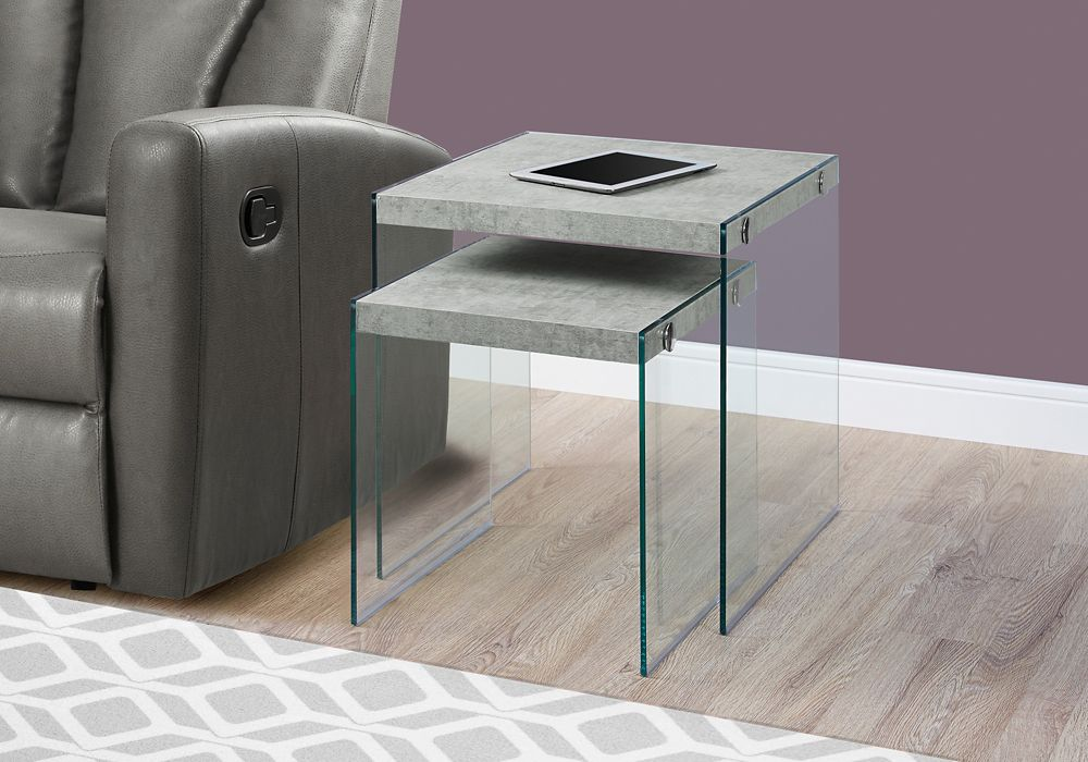 Monarch Specialties Nesting Table - 2pcs Set / Grey Cement / Tempered Glass