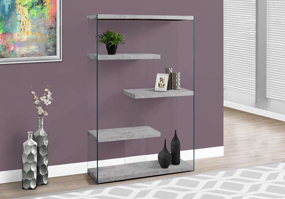 Monarch Specialties 4-Shelf Manufactured Wood Bookcase in Grey