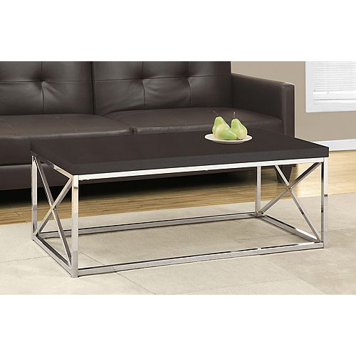 Monarch Specialties Coffee Table - Cappuccino / Chrome Metal