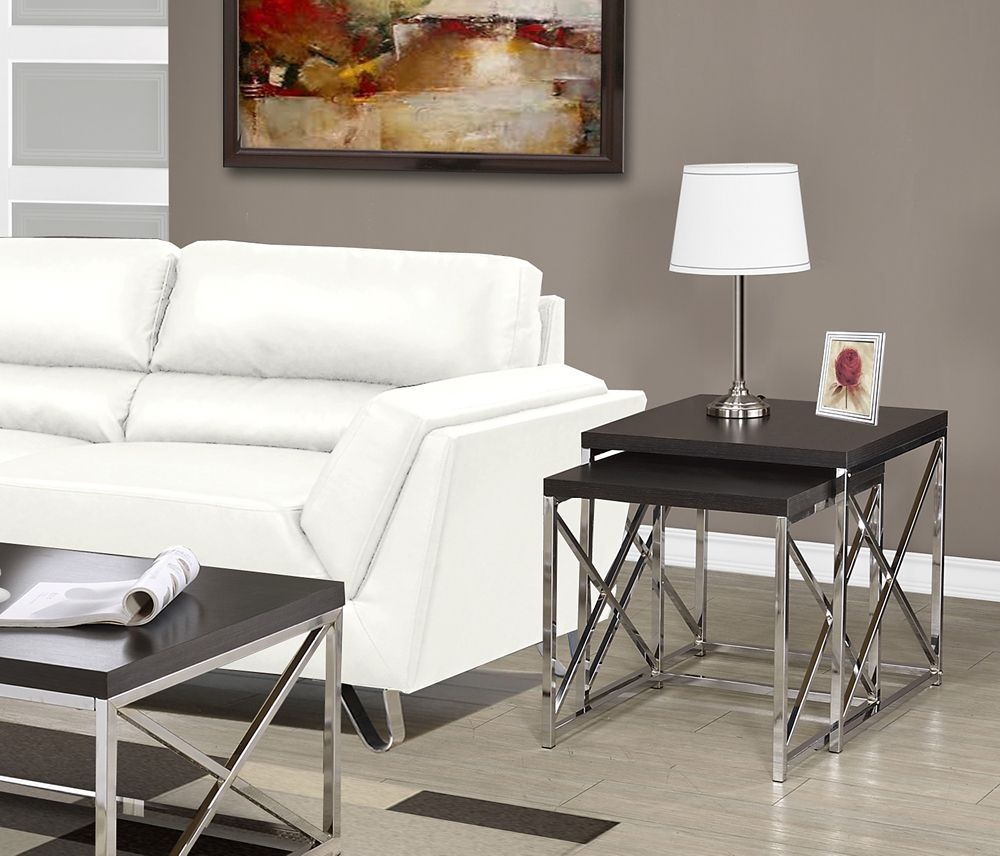 Monarch Specialties Nesting Table - 2pcs Set / Cappuccino With Chrome Metal