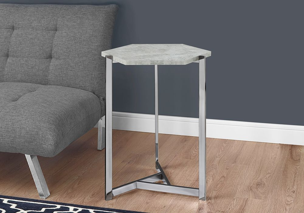 Accent Table - Hexagon / Grey Cement / Chrome Metal