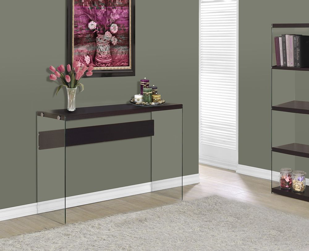Console Table - Cappuccino With Tempered Glass