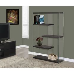 Monarch Specialties 4-Shelf Manufactured Wood Bookcase in Brown