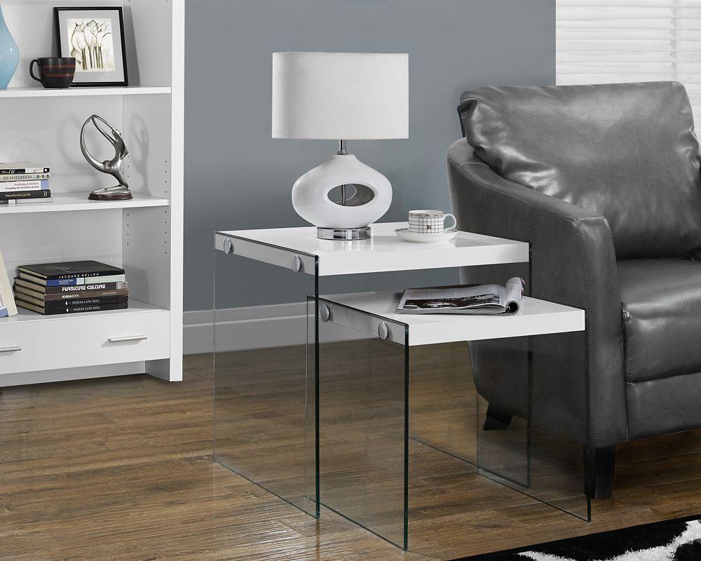 Nesting Table - 2pcs Set / Glossy White / Tempered Glass