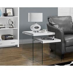 Monarch Specialties Nesting Table - 2-Piece Set / Glossy White / Tempered Glass