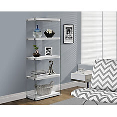 4-Shelf Manufactured Wood Bookcase in White