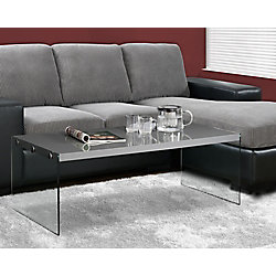 Monarch Specialties Coffee Table - Glossy Grey With Tempered Glass