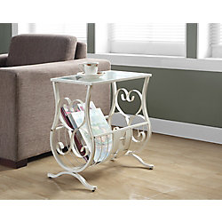 Monarch Specialties Accent Table - Antique White Metal With Tempered Glass