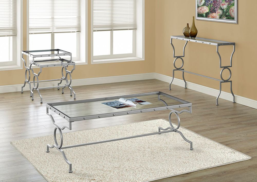 Monarch Specialties Coffee Table - Silver Metal With Tempered Glass