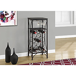 Monarch Specialties Home Bar - 40 Inch H / Black Metal Wine Bottle And Glass Rack