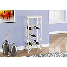Home Bar - 40 Inch H / White Metal Wine Bottle And Glass Rack