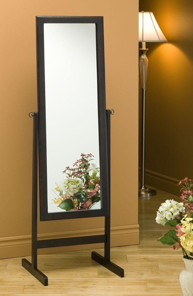 Monarch Specialties Mirror - 60 Inch H / Cappuccino Wood Frame