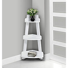 Bathroom Accent - 34-inch H / White Corner Étagère