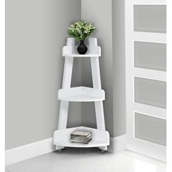 Monarch Specialties Bathroom Accent - 34-inch H / White Corner Étagère