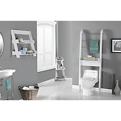 Monarch Specialties Bathroom Accent - 24 Inch H / White Wall Mount Shelf