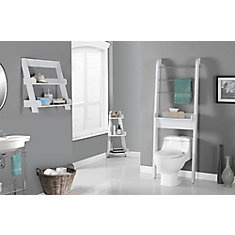 Bathroom Accent - 24 Inch H / White Wall Mount Shelf