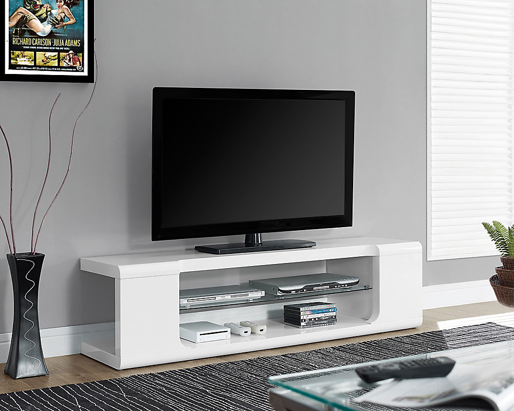 Monarch Specialties Tv Stand 60 Inch L High Glossy White With