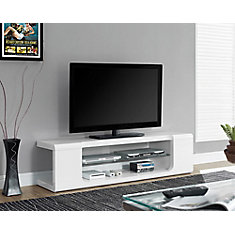 Tv Stand - 60 Inch L / High Glossy White With Tempered Glass