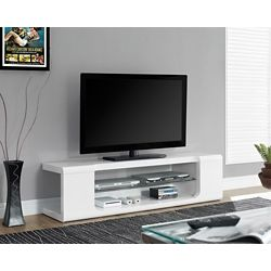 Monarch Specialties Tv Stand - 60 Inch L / High Glossy White With Tempered Glass