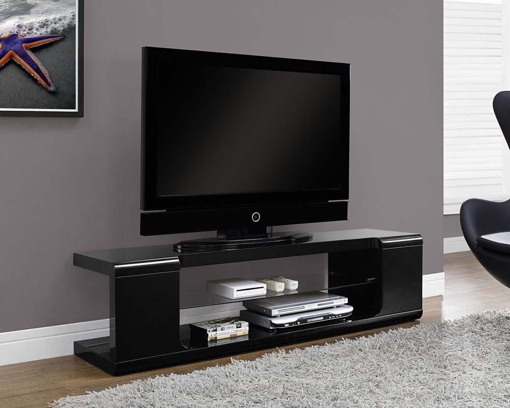 Monarch Specialties Tv Stand - 60 Inch L / High Glossy Black With Tempered Glass