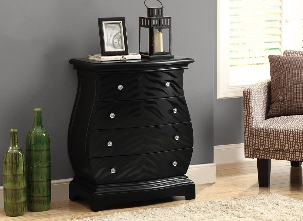 Monarch Specialties Accent Chest - Black Tiger Veneer Contemporary Style