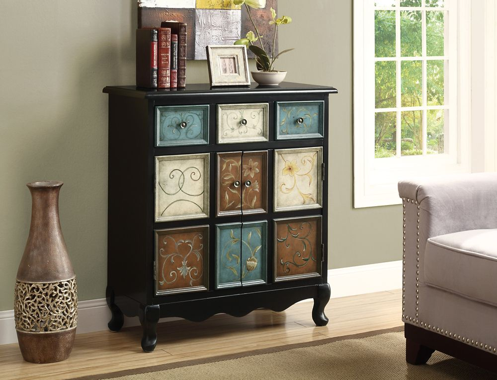 Monarch Specialties Accent Chest - Black / Multi-Color Apothecary Style