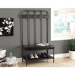 Monarch Specialties Bench - 60 Inch H / Charcoal Grey Metal Hall Entry
