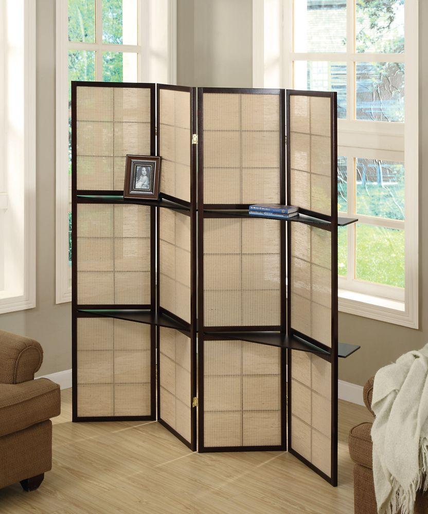 Monarch Specialties Folding Screen - 4 Panel / Cappuccino / 2 Display Shelves