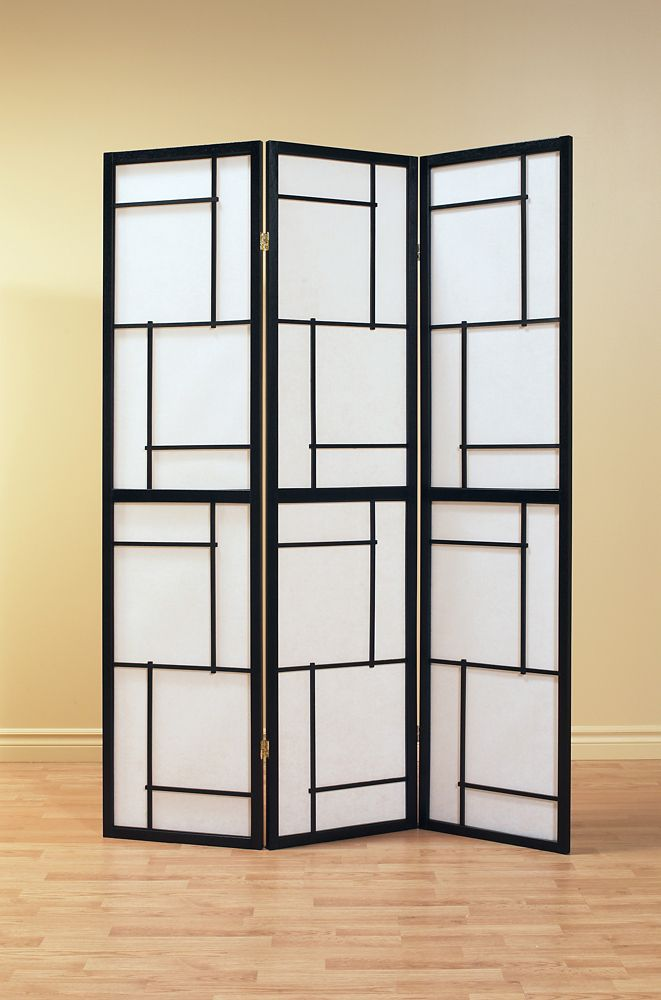Monarch Specialties Folding Screen - 3 Panel / Black Frame