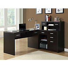 L-Shaped Computer Desk in Brown