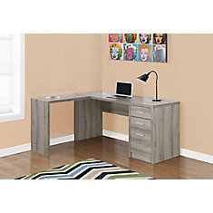 Bureau d'ordinateur enL, gris