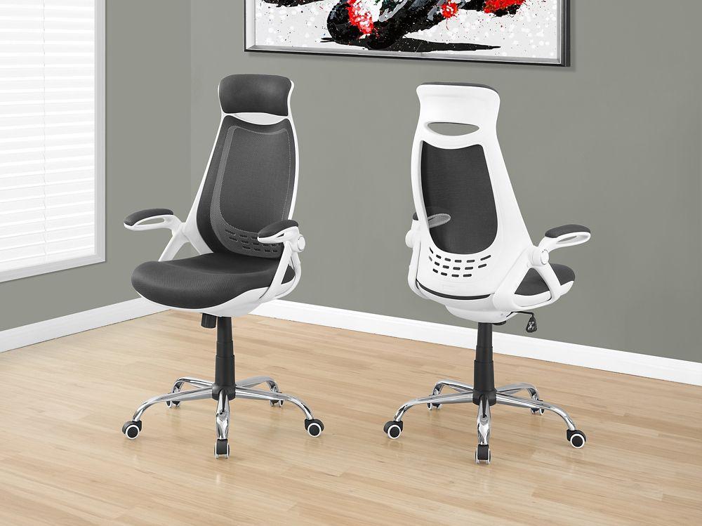 Monarch specialties chaise de bureau blanc meche gris dossier