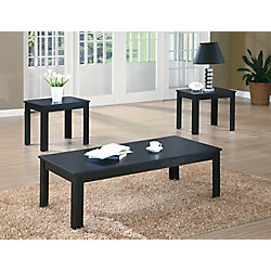 Monarch Specialties Table Set - 3-Piece Set / Black